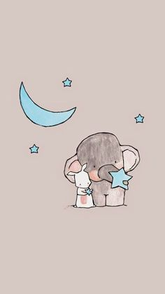 Wallpaper image, cute, and elephant - animal wallpaper Tier Wallpaper, Cute Wallpaper Backgrounds, Wallpaper Iphone Cute, Cute Cartoon Wallpapers, Disney Wallpaper, Iphone Wallpapers, Summer Wallpaper, Cute Elephant Drawing, Cute Animal Drawings