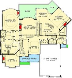 (av) I like the office, with outside access/porch. That whole corner of the plan is good(av) Architectural Design House Plans, Modern House Design, Home Design, Architecture Design, Architectural Styles, Luxury House Plans, Dream House Plans, House Floor Plans, The Plan
