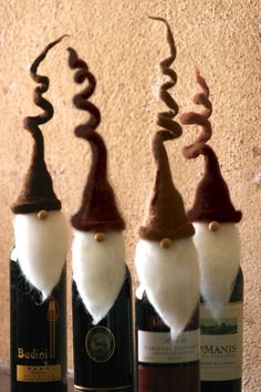 Brown Santa Wine Toppers with Curly Hats - Set of 4
