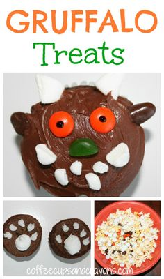 Gruffalo Party Food: Cupcakes, Brownie Bites, and Popcorn Mix! (from CoffeeCups and Crayons) Gruffalo Activities, Gruffalo Party, The Gruffalo, Book Activities, Gruffalo's Child, Popcorn Mix, Snack Recipes, Snacks, Brownie Bites
