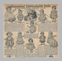 1916 Sears Christmas catalog, unbreakable character dolls, top of page by mcudeque, via Flickr