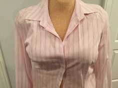 ANN TAYLOR Career 5 Button Pink & Gray Pinstripe career shirt blouse Size 8 #AnnTaylor #Blouse #Career