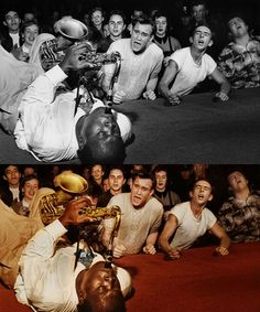 Big Jay McNeely, Los Angeles 1953. The extraordinary Jazz musician serenading the crowd at the Olympic Auditorium in Los Angeles. (Image Source: traquea)