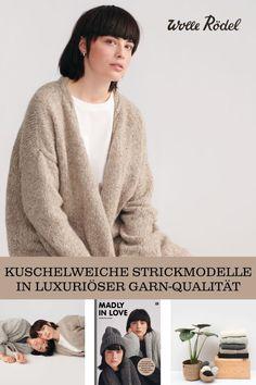 Selbstgemachte schlichte und puristische DIY-Strickmode. Jetzt dein Lieblingsmodell finden, Wolle aussuchen und losstricken!  #diy #wolle #stricken #anleitung    #cardigan #mütze #schal