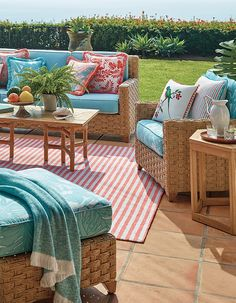 Some places are just more comfortable than others and Sanibel is designed to be one of them. As part of the deep seating collection, the ottoman gets its warm, inviting look from its distinctive basket weave. | Frontgate: Live Beautifully Outdoors