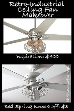 Industrial ceiling fan makeover using bed springs on the light kits. TheKimSixFix.com