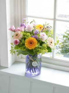 Love the colors in this flower arrangement. The Scent of Summer Vase Arrangement. Flowers In Jars, Pretty Flowers, Flower Vases, My Flower, Beautiful Flower Arrangements, Floral Arrangements, Summer Flowers, Fresh Flowers, Summer Colours