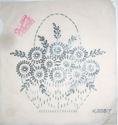 Vintage Deighton embroidery transfer - Basket of Daisy flowers  in Crafts, Embroidery, Patterns | eBay: