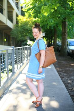 DIY simple denim shift dress with organic cotton lace
