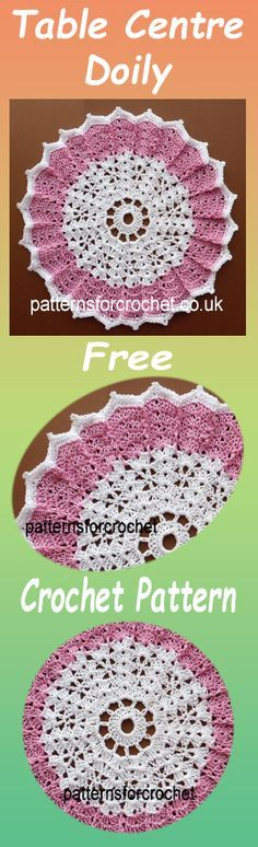 Table centre doily, free crochet pattern. #crochet