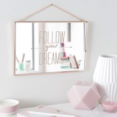 Specchio in metallo ramato 20 x 30 cm FOLLOW YOUR DREAMS - maisons du monde