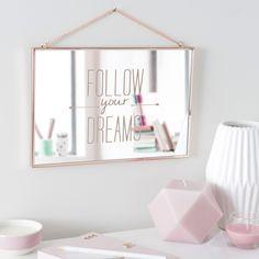 Miroir en métal cuivré 20 x 30 cm FOLLOW YOUR DREAMS | Maisons du Monde