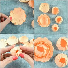 Peony Paper Flower Template: Step by Step Easy Paper Flower Tutorial flower backdrop Woodland Wedding Ideas Trend 2019 Paper Quilling Flowers, Paper Flowers Diy, Handmade Flowers, Flower Crafts, Fabric Flowers, Pot Mason Diy, Mason Jar Crafts, Paper Peonies, Paper Roses