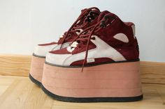 90s Burgundy/peach Buffalo Tower platform by ShopShesmovedon