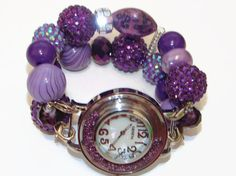 Royal Purple Chunky Beaded Watch  Interchangeable by BeadsnTime