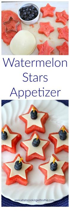 Watermelon Stars Appetizer on www.cookingwithruthie.com is great for all your summer parties!