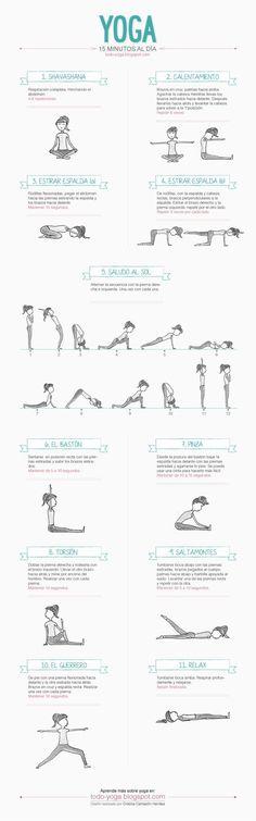 Una infografia con ejercicios de Yoga para practicar en casa. 15 minutos de Yoga al día para todos. #EjerciciosenCasa
