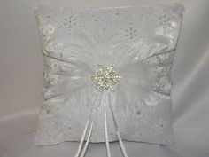 Wedding Ring Bearer Pillow Snowflakes by MYBEAUTIFULWEDDINGS