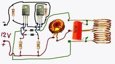 induction heater in circuit dia Electronics Mini Projects, Electronics Basics, Electrical Projects, Electronics Components, Electronic Circuit Design, Electronic Engineering, Electrical Circuit Diagram, Power Supply Circuit, Induction Heating