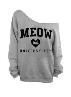Meow Universkitty Cat Shirt - Gray Slouchy Oversized CREW Sweatshirt