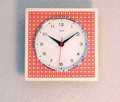 Vintage German 1960s GONG Red Metal Wall Clock  by Decofanatique
