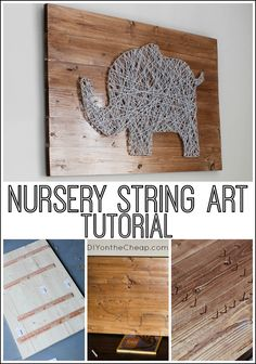 Cute elephant nursery string art tutorial -- this method could be adapted to make any type of string art you choose!