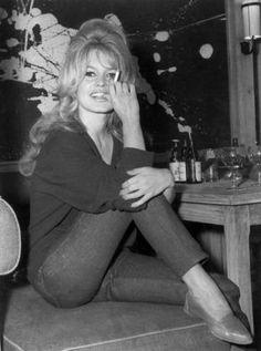 Brigitte Bardot on location in Paris while shooting