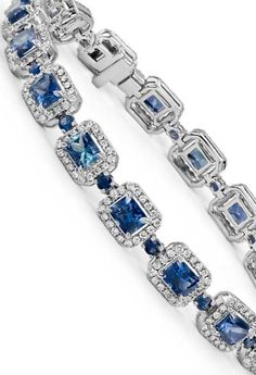 Distinct in every way, this bracelet showcases vibrant radiant cut sapphire gemstones surrounded by a halo of brilliant pavé-set round diamonds.