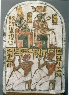Stele of King Amenhotep I and his mother Ahmose Nefertari (Dynasty XIX, Deir el-Medina) (Museo Egizio in Turin, C CGT Ancient Egypt Art, Ancient Artifacts, Ancient Aliens, Ancient History, 4 Image, Image Search, Art Ancien, Ancient Mysteries, African History