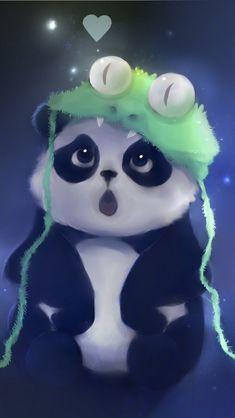 Cute Panda Painting iPhone 5 Wallpaper