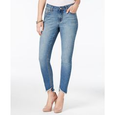 Earl Jeans High-Low Frayed Hem Skinny Jeans ($38) ❤ liked on Polyvore featuring jeans, medium, skinny jeans, frayed-hem jeans, white skinny leg jeans, frayed jeans and frayed skinny jeans