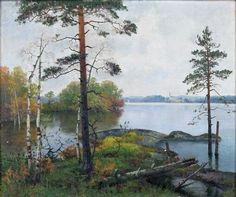 Ellen Favorin (Finnish painter) 1853 - 1919 Kuntamaisema (Landscape with Lake), s. oil on canvas 13 x 20 cm. Scandinavian Paintings, Bukowski, Finland, Denmark, Norway, Oil On Canvas, Landscape, Artwork, Painters