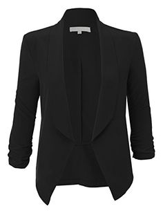 RubyK Womens Lightweight Ruched 3/4 Sleeve Open Front Blazer Jacket RBKWJC1174(BLACK)XXX-Large