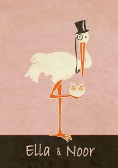 Geboortekaartje tweeling - Ella en Noor - voorkant - Pimpelpluis - https://www.facebook.com/pages/Pimpelpluis/188675421305550?ref=hl (# vintage - retro - meisjes - ooievaar - tweeling -  origineel)