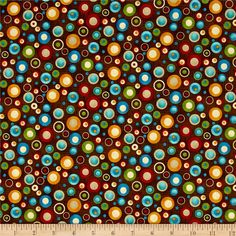 Doodle Days Calendar Multi Dots Brown from @fabricdotcom  Designed by Leanne Anderson of The Whole Country Caboodle for Henry Glass & Co., this cotton print fabric features brightly colored bubbles floating above the fabric. Perfect for quilting, apparel and home decor accents. Colors include taupe, cream, shades of brown and blue, orange, golden orange, green and red.