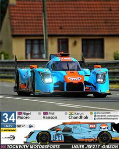 Le Mans 2017 - The famous blue-and-orange racing colours of Gulf Oil will be carried on the British Tockwith team's Ligier LMP2 car at this week's Le Mans 24 Hours.  Gulf Oil International has extended its involvement in the World Endurance Championship in celebration of the 53rd anniversary of the first time a car ran in its colours at Le Mans.  Follow the team on Twitter #JSP217!