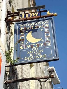 The Moon in the Square pub sign - Bournemouth, UK
