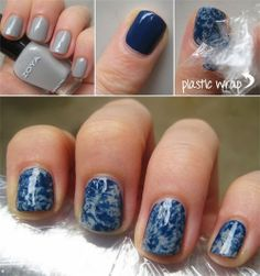 Polish your nails with a base color and let them dry completely. Apply a coat of another color on top, immediately blot with pieces of crumpled up saran wrap. The cling wrap will pull up a bit of the top color, creating a marbled effect with the base color underneath. Apply top coat.