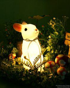 Mini Rabbit Lamp #bunnyinabow