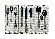 Vintage Cutlery Lino Print by Lauren Kelly Prints ©Lauren Kelly