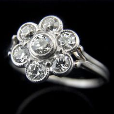 Old European Cut Diamonds Platinum Ring Halo by sohojewelers