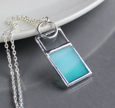 Color Bar   Ocean Breeze  Stained Glass Jewelry by LAGlass on Etsy, $24.00