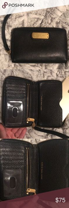 Marc by Marc Jacobs Classic Q Wingman Wallet Gently used. Black leather gold detailing. No flaws. Size comparison is iPhone 6 Plus Marc By Marc Jacobs Bags Wallets