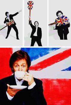 Paul McCartney still drinking that tea. Flamenco Guitar Lessons, Bass Guitar Lessons, Guitar Tips, Easy Guitar, Great Bands, Cool Bands, Guitar Guy, Lennon And Mccartney, Paul Mccartney Quotes