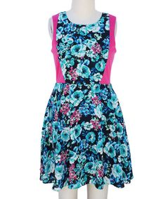Loving this Fuchsia & Blue Floral Color Block Skater Dress - Girls on #zulily! #zulilyfinds