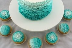 Ombre teal buttercream ruffles on a cake and/or cupcakes! SO cute! This would be adorable for the bridal shower!