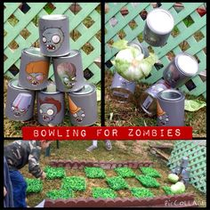 Bowling for Zombies. Plants vs Zombies Birthday Party Activity. The kids like loved it!