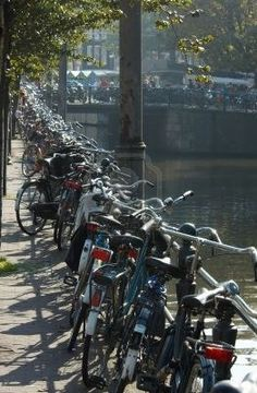 Bicycles in Amsterdam. Probably the most bike-friendly place I've been -and the most fun city to bike around in. No matter WHAT your state of mind -it's flat and easy and there are bike racks everywhere.
