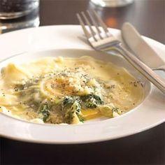 Vegetarian Pasta Dishes  | Tabla Mediterranean Bistro Magical Egg Ravioli | MyRecipes.com