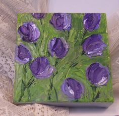 impasto oil painting on canvas tulips in shades by twocooltexans